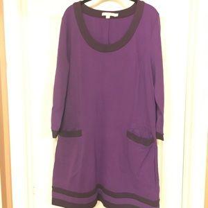 Classic Purple Colorblock Tunic  - Size 18